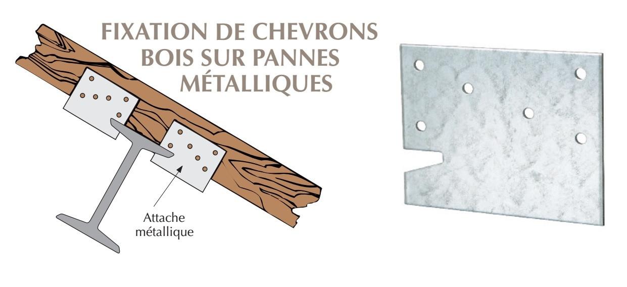Attache métallique pour chevrons bois sur panne métallique