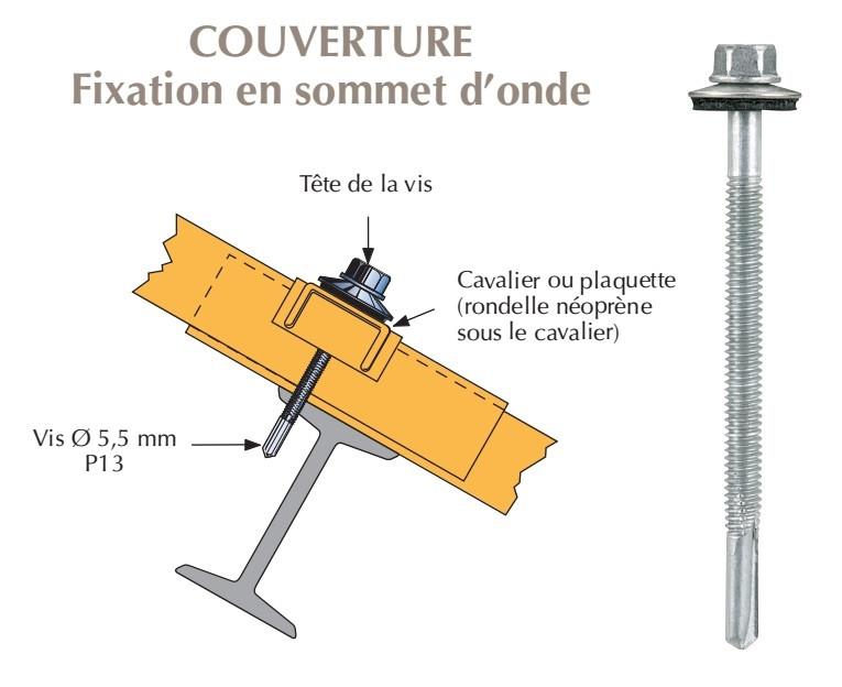 Vis inox TH autoperçeuse P13 Ø5,5 + vulca - fixation de bacs acier nervurés sur poutrelles