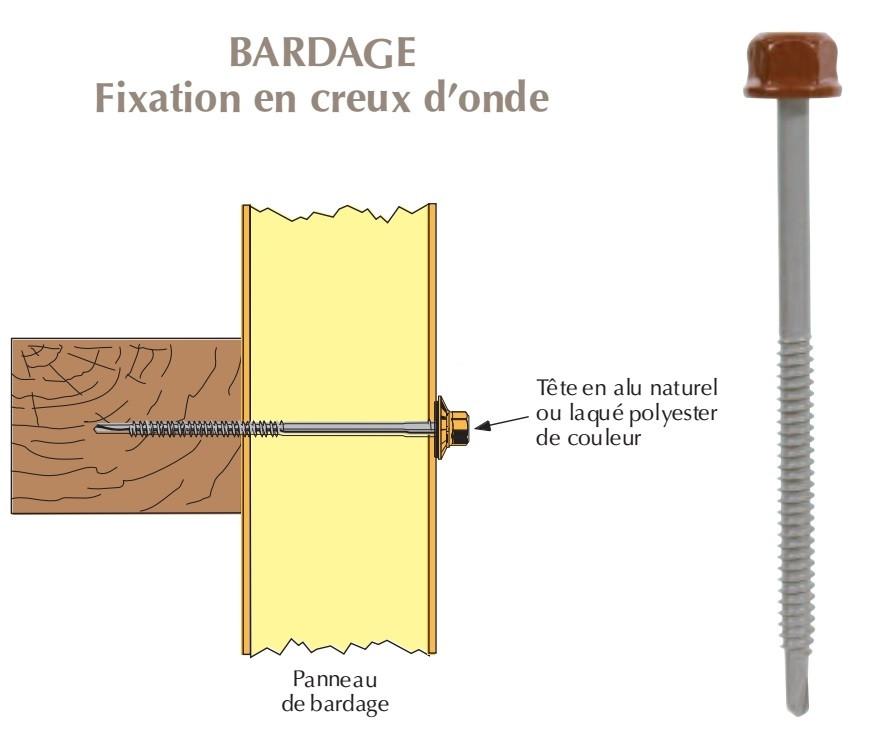 Vis têtalu autoperçeuse P1 Ø6.3 TK12 laquée pour bardages panneaux sandwich (mousse PE) sur bois
