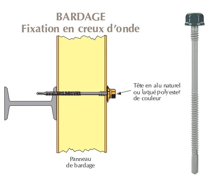 Vis têtalu double filet autoperçeuse P13 Ø6,3 TK12 laquée pour bardage panneaux sandwich (laine de roche) sur poutrelles