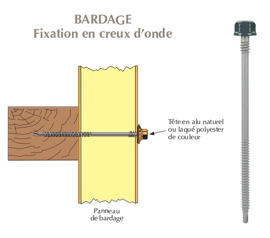 Vis têtalu double filet autoperçeuse P1 Ø6.3 TK12 laquée pour bardage panneaux sandwich (laine de roche) sur bois