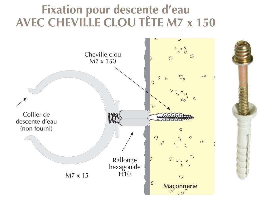 cheville clou tête fileté M7 x 150 pour colliers de descentes d'eau sur maçonnerie