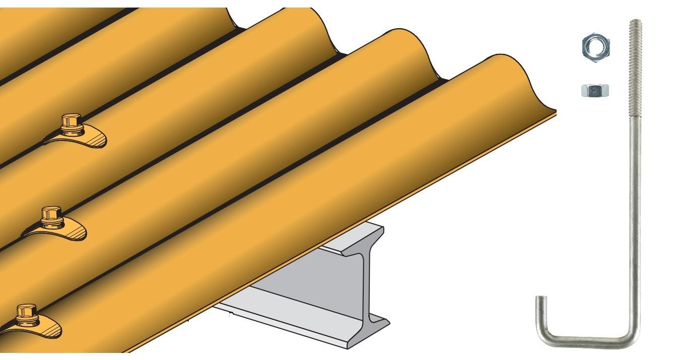 Crochet pour couverture tôles ondulées TOG sur poutrelle métallique