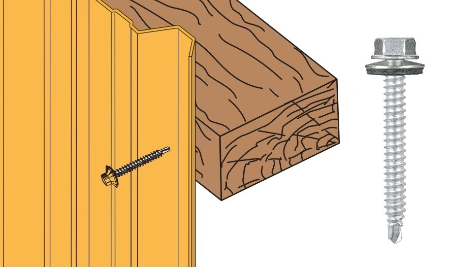 Vis inox TH autoperçeuse P1 Ø6.3 + vulca - fixation bardages bacs acier sur bois