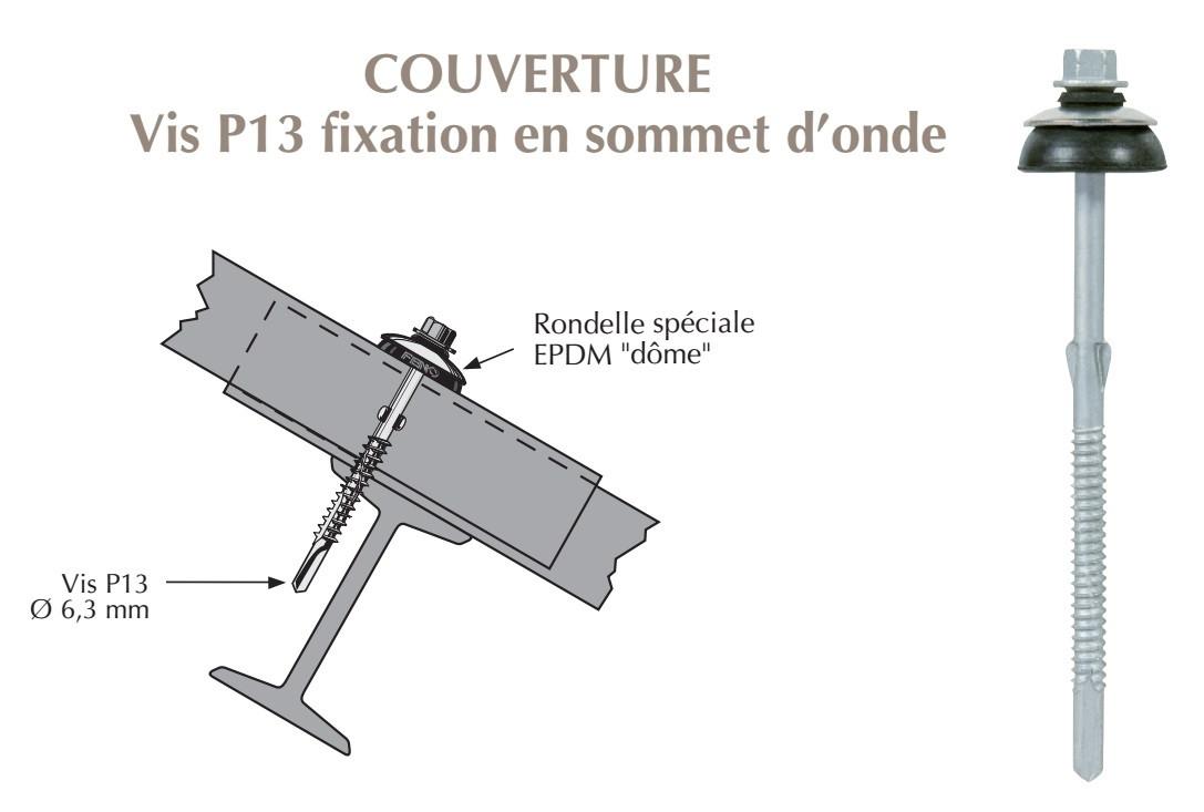 Vis autoperçeuse P13 à ailettes TK12 pour couverture plaque fibres-ciment 177x51 sur Poutrelles