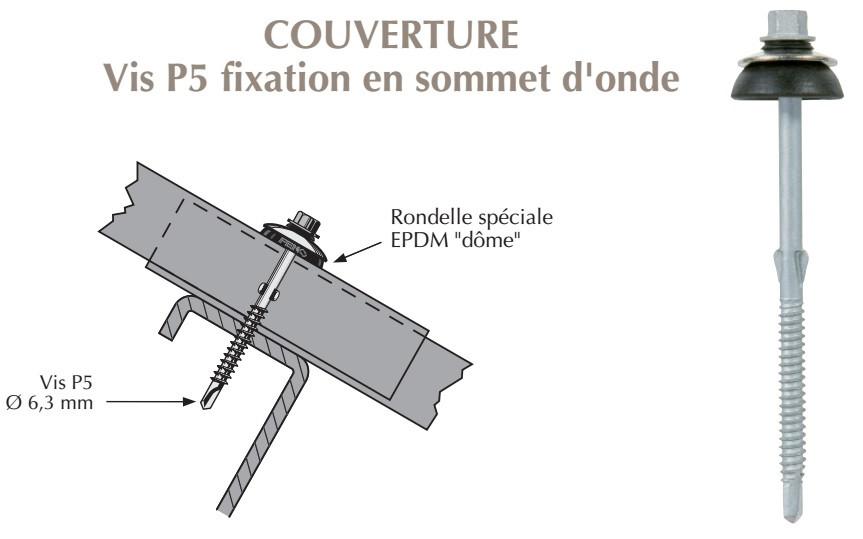 Vis autoperçeuse P5 à ailettes TK12 pour couverture plaque fibres-ciment 177x51 sur profilés/tubes