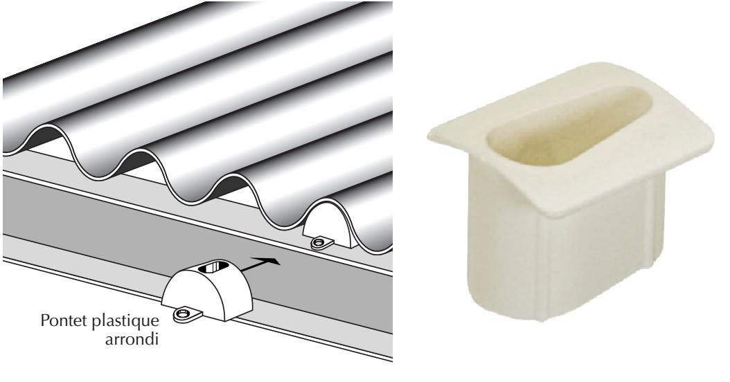 Pontet plastique pour plaques tanslucides de formes tôle ondulée