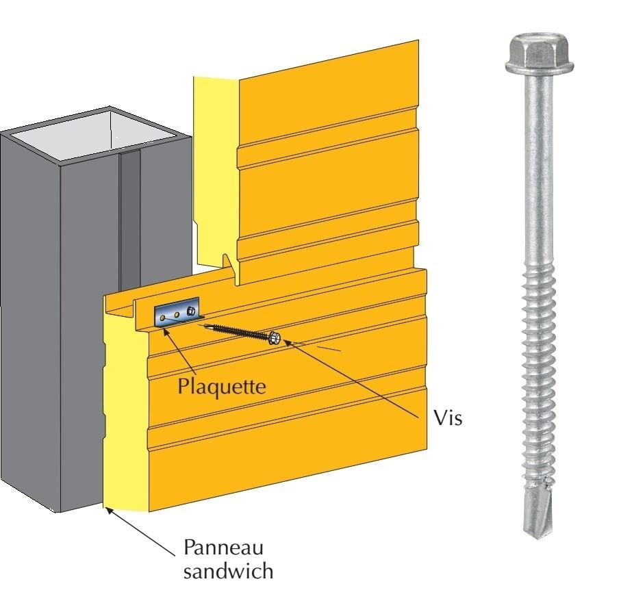 Vis inox TH autoperçeuse P5 Ø5,5 pour fixations cachées panneaux sandwich sur profilés/tubes