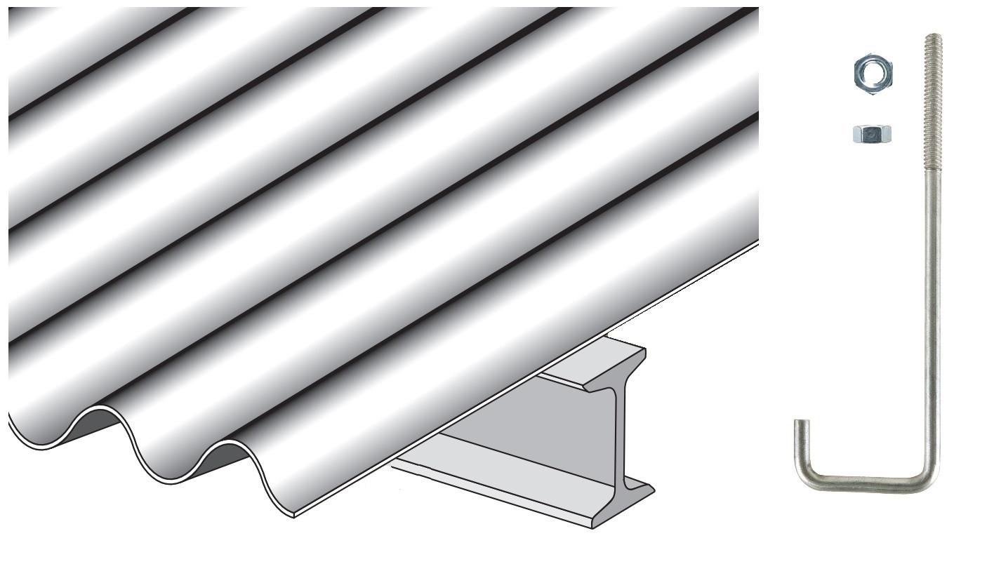Crochet pour couverture plaque fibres-ciment sur poutrelle métallique