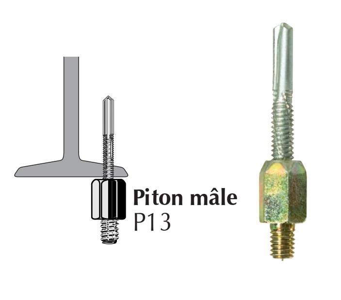 Piton autoperceur P13 mâle pour panne métallique ép. 5 à 13 mm