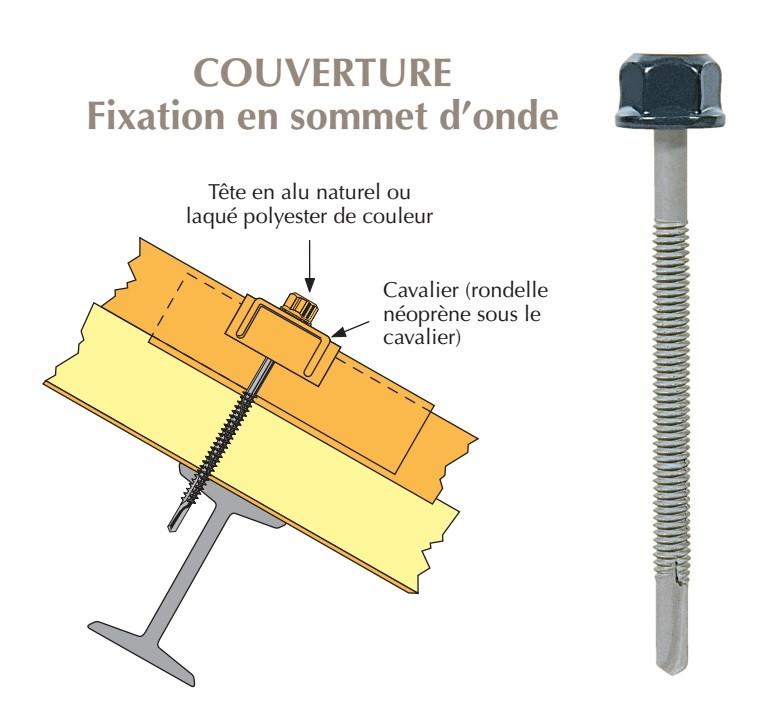 Vis têtalu autoperçeuse P13 Ø5,5 TK12 laquée pour couverture panneaux sandwich (mousse PE) sur poutrelles