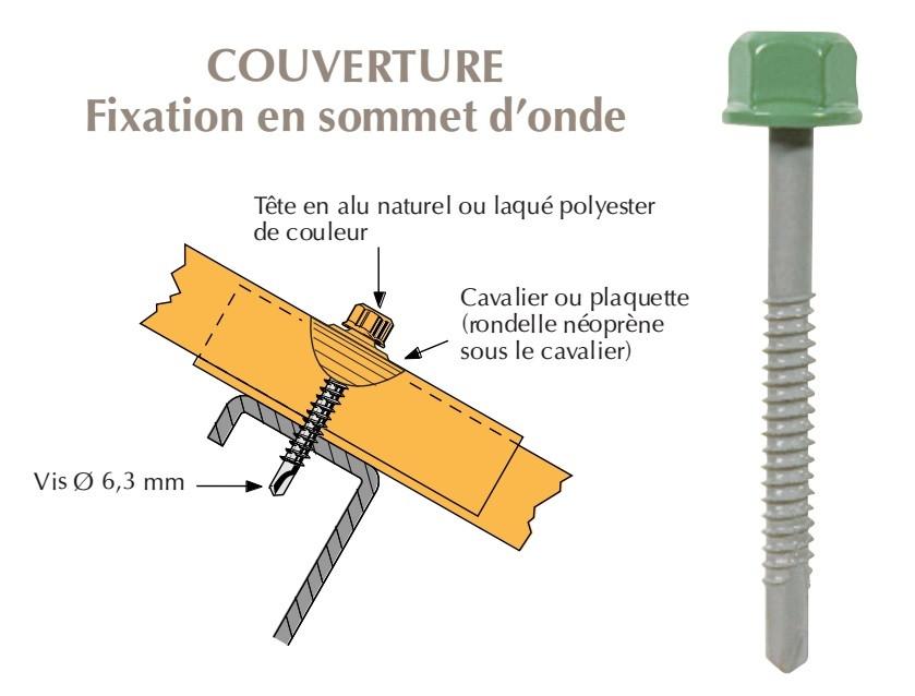 Vis têtalu autoperçeuse P5 Ø6,3x55 TK12, fixation de tôles ondulées sur profilés/tubes