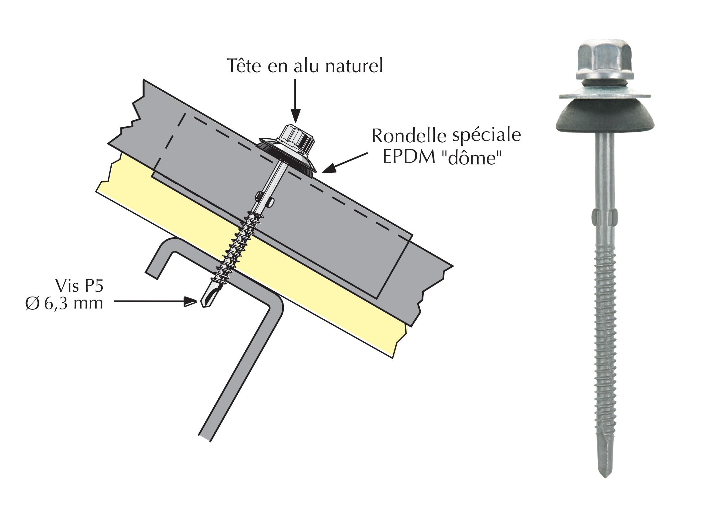 Vis Tetalu autoperçeuse P5 à ailettes pour couverture plaque fibres-ciment 177x51 avec isolant