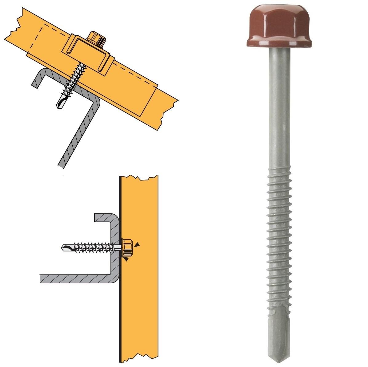 Vis têtalu autoperçeuse P5 Ø6,3 TK12 laquée pour couverture et bardage sur profilés/tubes