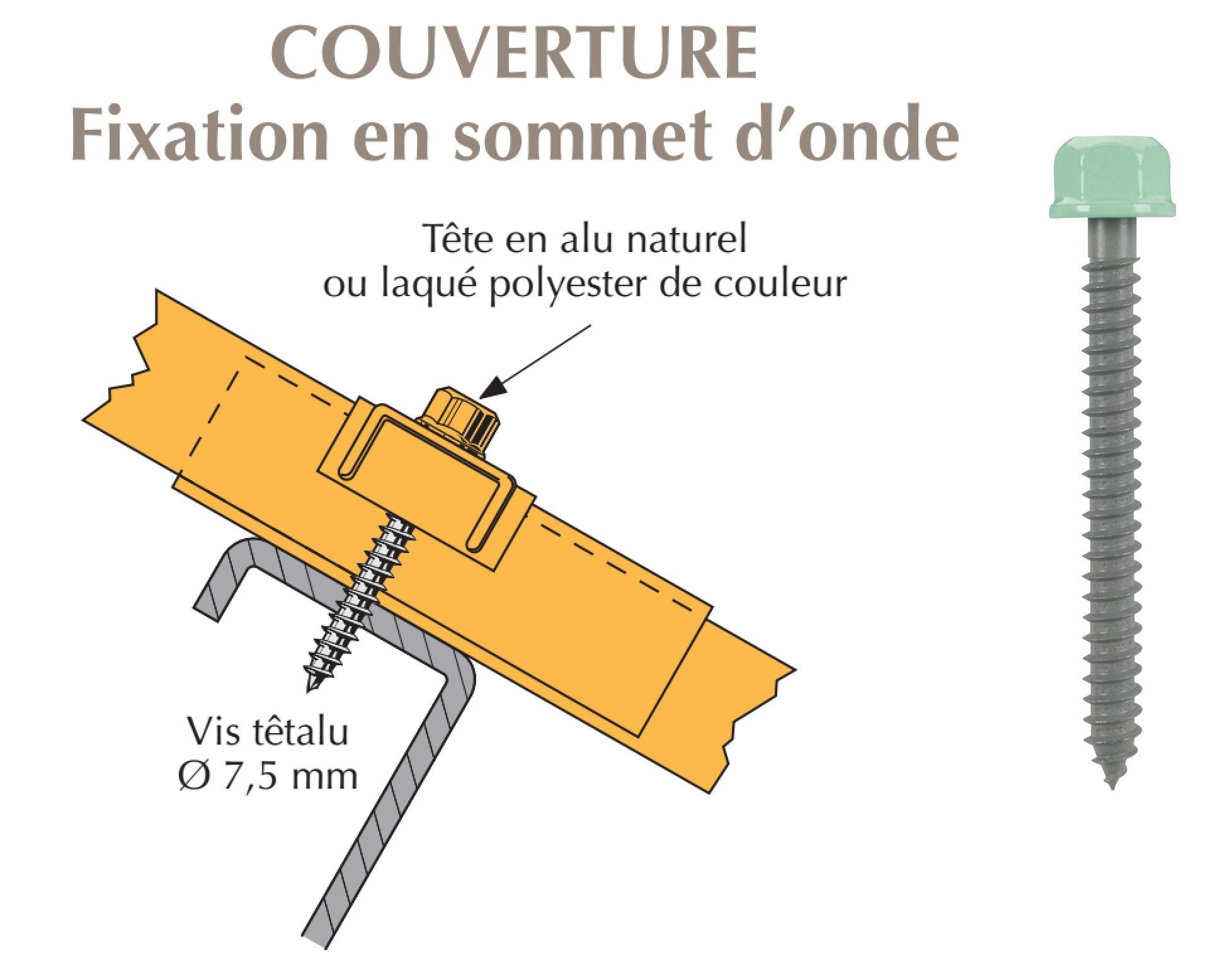 Vis têtalu autotaraudeuse de réparation Ø7,5x35 pour tôle ondulée sur acier