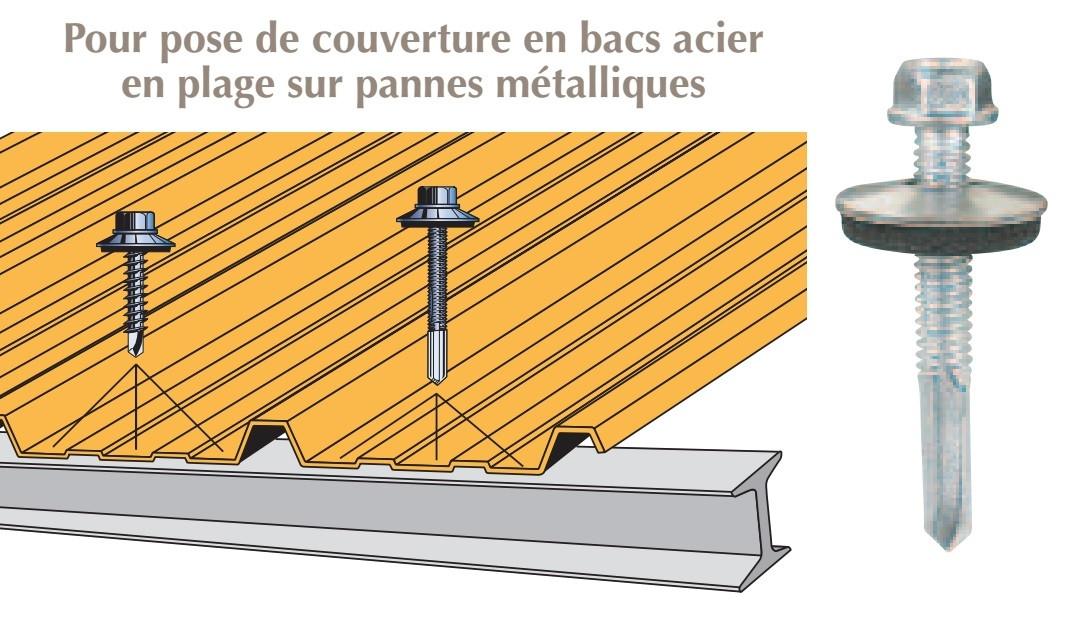 Vis inox TH autoperçeuse P13 Ø5,5 + vulca - fixation de couverture bacs acier en plage sur poutrelles