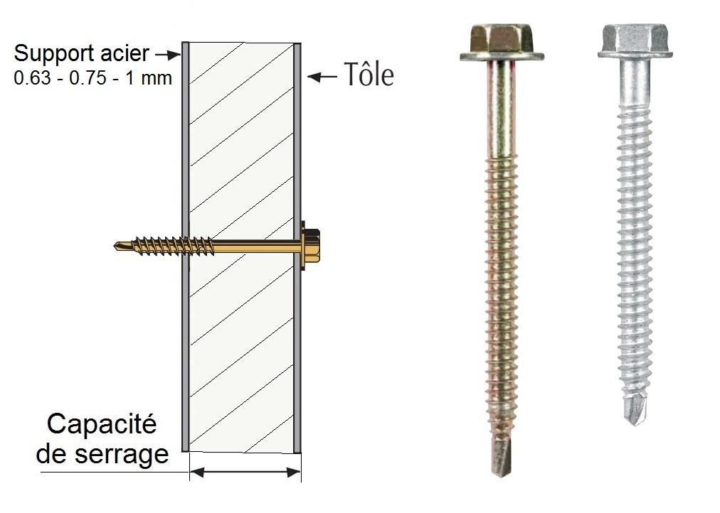 Vis th autoperçeuse P1 Ø6.3 pour support acier mince