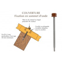 Vis têtalu autoperçeuse P1 Ø6,3 TK12 laquée pour couverture bacs acier nervurés sur bois