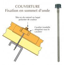 Vis têtalu double filet autoperçeuse P5 Ø6.3 TK12 laquée pour couverture panneaux sandwich (laine de roche) sur profilés/tubes