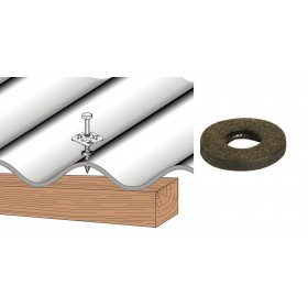 Rondelle d'étanchéité feutre bitumé pour plaque couverture fibres-ciment et PST