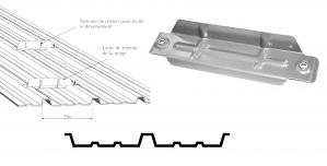 Arrêt de neige en acier galvanisé naturel ép.2mm pour bac acier nervuré