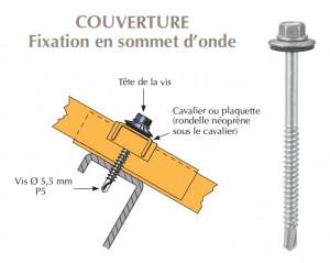 Vis inox TH autoperçeuse P5 Ø5,5 + vulca - fixation de bacs acier nervurés sur profilés/tubes