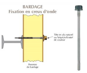 Vis têtalu double filet autoperçeuse P13 Ø6.3 TK12 laquée pour bardage panneaux sandwich (laine de roche) sur poutrelles