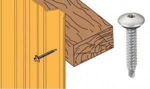 Vis inox TCB autoperçeuse P1 Ø6.3x38 + rondelle - fixation bardages bacs acier sur bois