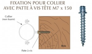 Patte à vis filetée M7x150 fixation de colliers de descentes d'eau sur maconnerie ou bois