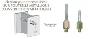 Piton autoperceur mâle M7 x 150 pour colliers de descentes d'eau sur poteaux métalliques
