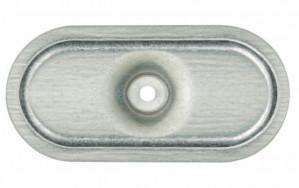 Plaquette ovale 82x40 nervurée galvanisée