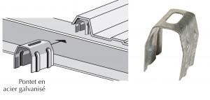 Pontet acier galvanisé pour plaques translucides