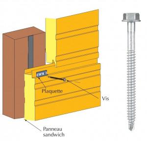 Vis inox TH autoperçeuse P1 Ø6.3 pour fixations cachées panneaux sandwich sur bois