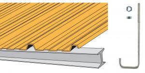 Crochet pour couverture bacs acier nervurés sur poutrelle métallique