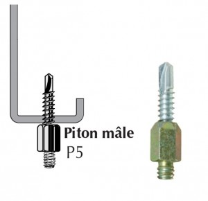 Piton autoperceur P5 mâle pour panne métallique ép. 2 à 5 mm