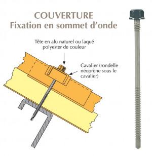 Vis têtalu double filet autoperçeuse P5 Ø6,3 TK12 laquée pour couverture panneaux sandwich (laine de roche) sur profilés/tubes