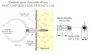 Rallonge hexagonale mâle femelle M7 x 150 pour colliers de descentes d'eau