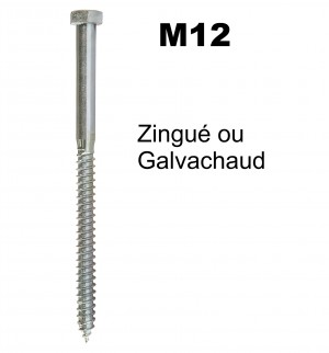 Tirefond TH diamètre 12mm à visser - Galvachaud ou Zingué - pour bois