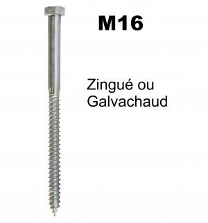 Tirefond TH diamètre 16mm à visser - Galvachaud ou Zingué - pour bois