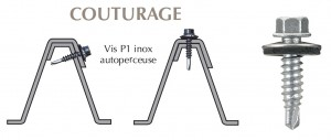 Vis inox TH autoperçeuse P1 Ø6.3 + vulca pour couturage