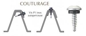 Vis inox TCB autoperçeuse P1 + rondelle pour couturage