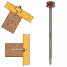 Vis têtalu autoperçeuse P1 Ø6.3 TK12 laquée pour couverture et bardage sur bois