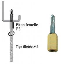 Piton autoperceur P5 femelle pour panne métallique ép. 2 à 5 mm