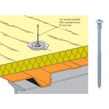 Vis isolant double filet TK15 autoperçeuse 4,8 - fixation sur bac support d'étanchéité plein