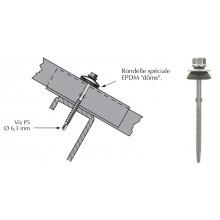 Vis Tetalu autoperçeuse P5 à ailettes pour couverture plaque fibres-ciment 177x51
