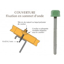 Vis têtalu autoperçeuse P5 Ø6.3x55 TK12, fixation de tôles ondulées sur profilés/tubes