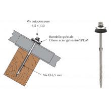 Vis inox autoperceuse a ailettes pour couverture plaque fibres-ciment 177x51 sur bois