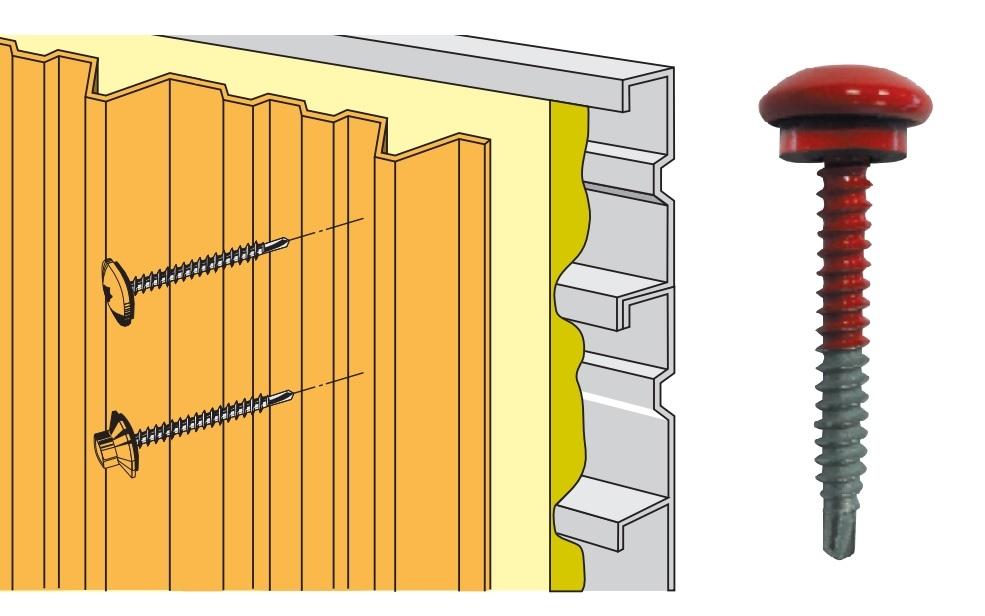 Techfast tfcl 4838 toiture vis bois acier lumière section 4.8 x 38 mm Pack 100